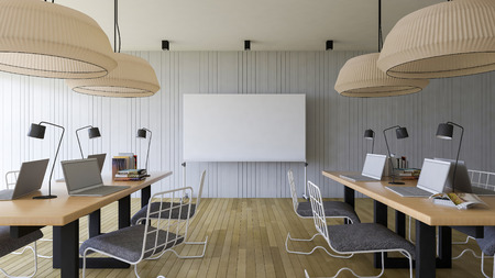 3d rendering image of working room which have a blank white board for fill your words