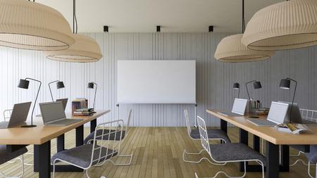 de rendu d'image 3D de la salle de travail qui ont un tableau blanc blanc pour remplir vos mots