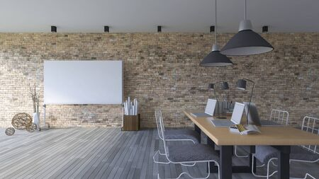board room: 3d rendering image of working room which have a blank white board for fill your words, Old brick wall and woodden floor Stock Photo