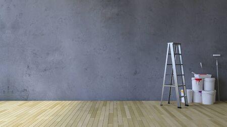3D-rendering beeld van een leeg gebarsten betonnen muur en houten vloer, Ladder en tekengereedschappen en kleur blikjes op de vloer