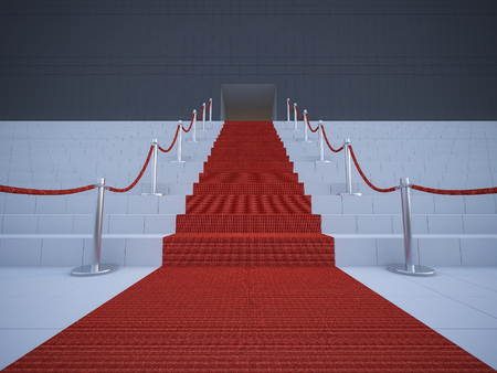 prestige: 3d rendering image of the red carpet on  stair Stock Photo