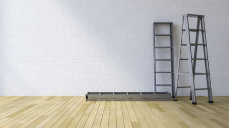 3ds: 3Ds rendered image of a blank white brick wall and wooden floor
