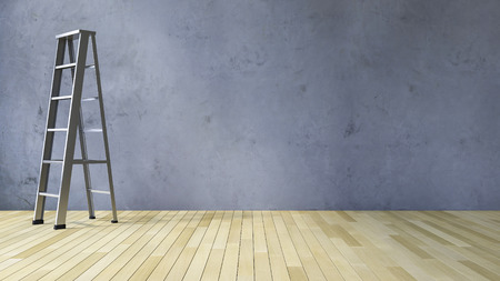 3ds: 3Ds rendered image of a blank cracked concrete wall and wooden floor Stock Photo