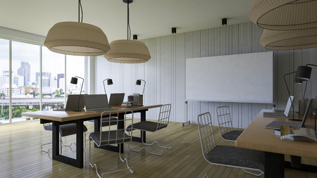 board room: 3d rendering image of working room which have a blank white board for fill your words, office in the city