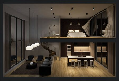 blown: 3d rendering image of double space apartment in living box,White fabric curtains being blown by wind, perspective view in night time Stock Photo