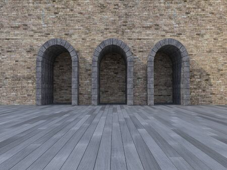 stone arch: 3d rendering image of 3 arch door made by stone place on the wooden floor and old brick wall, day scence,