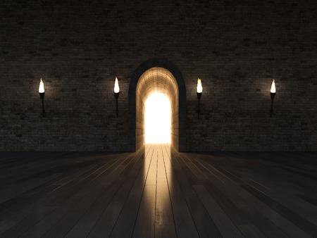 3d rendering image of 3 arch door made by stone place on the wooden floor and old brick wall, night scence,torch on the wall