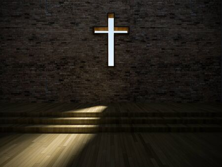 old church: 3d rendering image of minimal style interior design of church, jesus cross sign on the old brick wall, Light shining through a hole, shadow on wooden step and floor