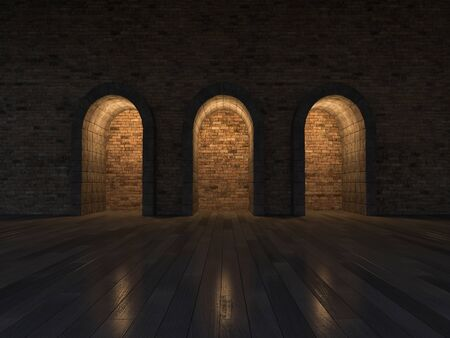 arched: 3d rendering image of 3 arch door made by stone place on the wooden floor and old brick wall, night scence