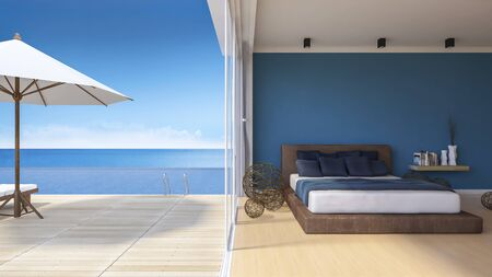 downlight: 3d rendering image of bed room in the seaside house which have white umbrella and day bed on wooden terrace , infinity swimming pool, shadow on floor