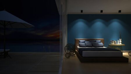 downlight: 3d rendering image of bed room in the seaside house which have white umbrella and day bed on wooden terrace , infinity swimming pool, leaves shadow on floor,night view,sunset time
