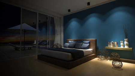 3d rendering image of bed room in the seaside house which have white umbrella and day bed on wooden terrace , infinity swimming pool, leaves shadow on floor,night view,sunset time