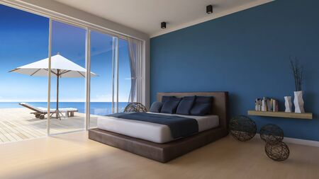 bed room: 3d rendering image of bed room in the seaside house which have white umbrella and day bed on wooden terrace , infinity swimming pool, shadow on floor