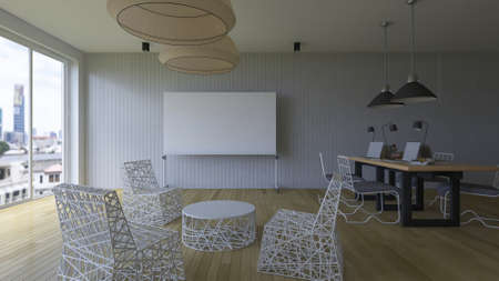 board room: 3d rendering image of working room which have a blank white board for fill your words