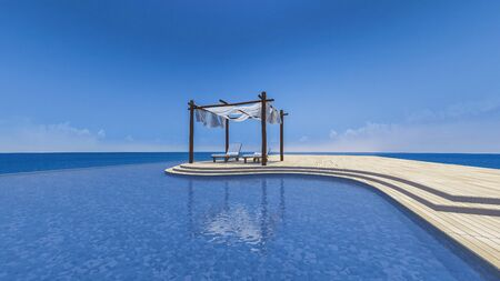 sea view: 3D rendering image of daybed and wooden tent which cover by fabric on terrace, sea view, infinity swimming pool, curtain being blow by wind