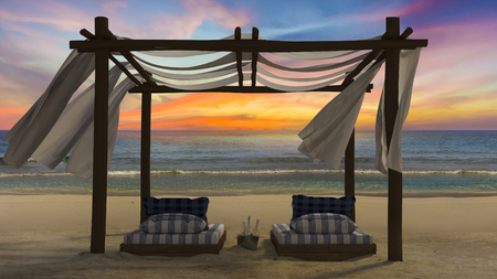 day bed: 3D rendering image of timber tent which cover by fabric loacted on the beach,  curtain being blow by wind from the sea, white and blue day bed, sunset time perspective Stock Photo
