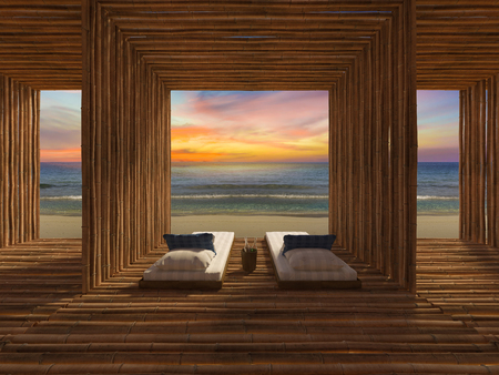 asian house plants: 3d rendring image of blue and white day bed place in the bammboo room which have wall, ceiling and for as bamboo,  twilight in sunset time, sea view and beach