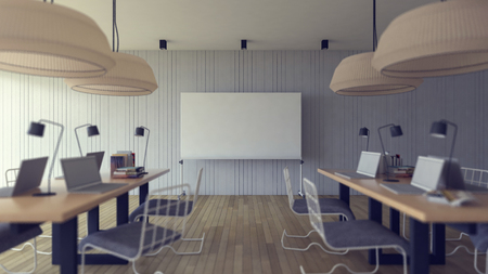light classroom: 3d rendering image of working room which have a blank white board for fill your words, depth of field style, focus on white board, Soft light with vintage filter.