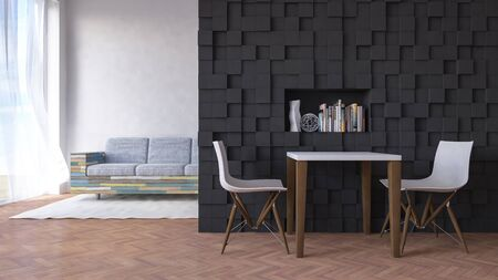 living space: 3d rendering image of table and chair infront of the dark color wall decorted by cubic pattern, have old wooden sofa in living space as background