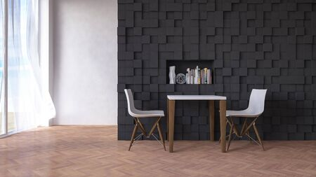 living space: 3d rendering image of table and chair infront of the dark color wall decorted by cubic pattern, have living space as background Stock Photo