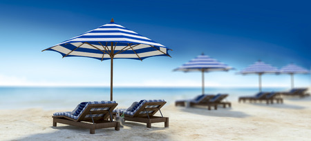 day bed: 3d rendering image of double wooden day bed under the blue and white umbrella on the beach, Depth of field style Stock Photo