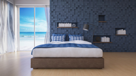 3d rendering image of sea view bedroom which have cubic decorated wall as back ground,blue cubic wall and wooden floor, book shelf in the hole on the wall, White fabric curtains being blown by wind from the sea, interior perspective in day time whice have