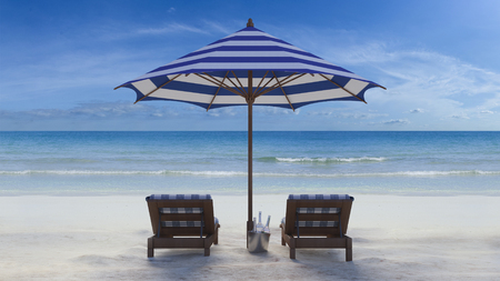 under the bed: 3d rendering image of wooden day bed under the blue and white umbrella on the beach, day time perspective