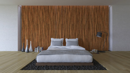 timber floor: 3d rendering image of bedroom, White bed on leather base in the hole of the floor filled with black stone. Bamboo wall and brick wall