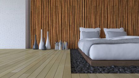 wooden floor: 3d rendering image of bedroom, White bed on leather base in the hole of the floor filled with black stone. Bamboo wall and brick wall