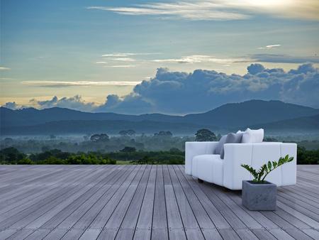 3d sofa on sundeck mountain view