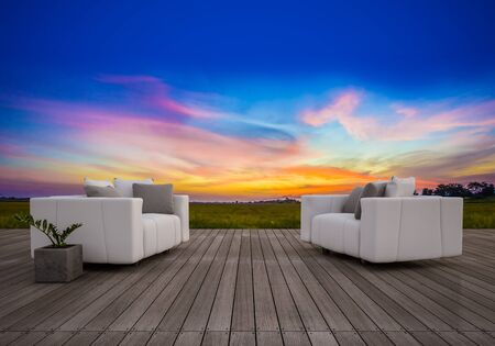 timber floor: 3d sofa set on sundeck which have sunset sky and rice field as background