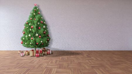 laced: 3Ds rendered of christmas tree which decorated by golden and red ball pand gift boxes laced in the room which have wooden wall and basket wave pattern of parquet, happy new year and merry christmas concept Stock Photo