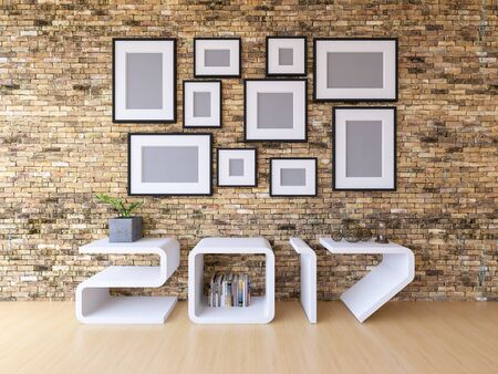 3d rendering image of 2017 shelf on wooden floor. A lot of photo frame hang on the brick wall. background for new year festival. Stock Photo