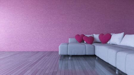 romance bed: 3d rendering image of interior design living room.pink heart pillow on sofa set and place on the wooden floor which have  brick wall as background. Valentine day concept Stock Photo