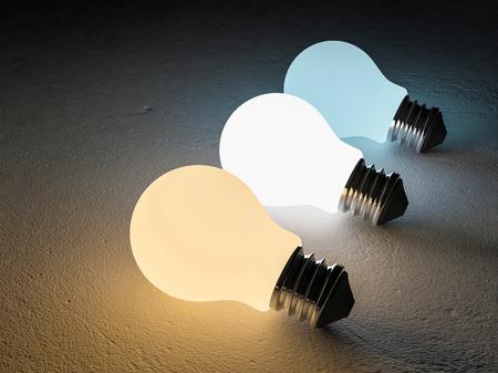 Imagen de representación 3D de 3 bombilla o lámpara lugar en el piso de cemento agrietado. Noche scence perspectiva. escala de temperatura de color. blanco frío, blanco cálido, la luz del día. 3 diferentes colores de efectos de luz Foto de archivo - 73393882