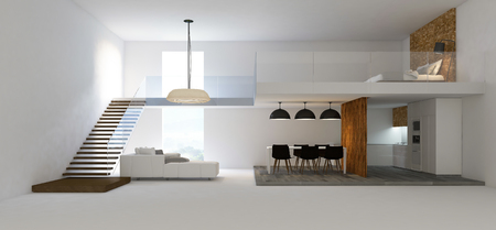 double cross: 3d rendering image of double space interior design. double ventilation design. cross section view shown the space of house Stock Photo