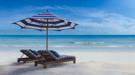 3d rendering image of wooden day bed under the blue and white umbrella on the beach, day time perspective