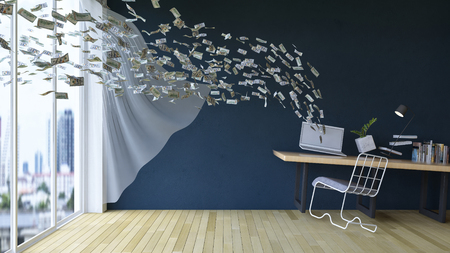 business on a go. 3d rendering image of working table which have  100 dollar bills banknotes coming out and in of laptop screen. Working online at home by notebook computer. Business concept .