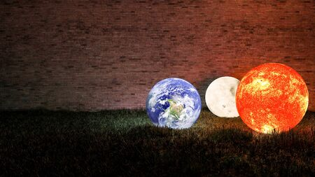 3d rendering of Sun, Moon and Earth place on grasses field which have old brick wall as background with copy space. Elements of this image furnished by NASA