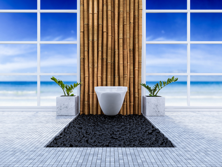 3d rendering image of toilet interior design. minimal concept, day time perspective, Bamboo wall and floor.