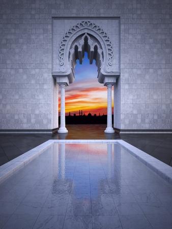 현대 이슬람 스타일 인테리어 디자인의 3d 렌더링 이미지. 일몰 하늘과 이슬람 도시 스카이 라인에서 반사를 가지고 실내 수영장
