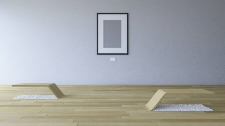 3d rendering image of gallery room with blank photo frame hang on the old cracked concrete wall and wooden floor and seating Stock Photo