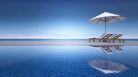 3D-rendering beeld van ligbed en parasol op curve houten terras, stap vloer, uitzicht op zee, oneindig zwembad
