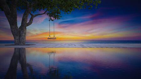 나무 아래 로프 스윙의 3d 렌더링 이미지 목재 갑판에 일몰 하늘과 바다 배경으로있는 수영장에 배치. 일몰 시간에 바다 전망 갑판입니다.