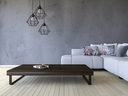 3ds rendering image of white sofa and wooden table place on timber floor which have cracked concrete wall as background.  Modern hanging lamps over the book on the wooden table Stock Photo