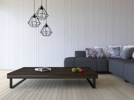 3ds rendering image of black sofa and wooden table place on timber floor which have white wooden wall as background.  Modern hanging lamps over the book and green aple and red tomato on the wooden table