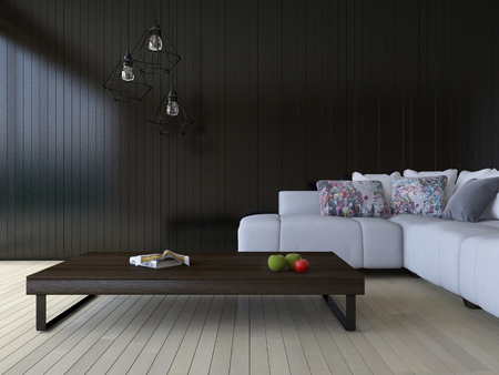 3ds rendering image of white sofa and wooden table place on timber floor which have black wooden wall as background.  Modern hanging lamps over the book and green aple and red tomato on the wooden table