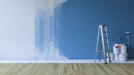 3d rendering image of painting blue wall in an empty room. ladder and paiting tools placed on timber floor. Stock Photo