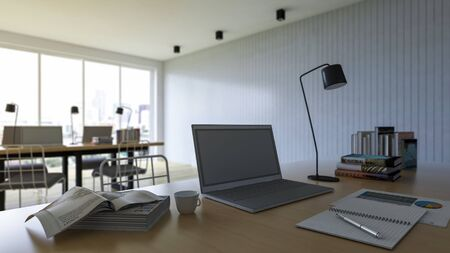3d rendering of working table with depth of field photo. working wooden table which have laptop, book,notebook,coffee cup and desk lamp on it, business concept. selective focus on laptop. Stock Photo