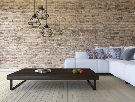 3ds rendering image of white sofa and wooden table place on timber floor which have brick wall as background.  Modern hanging lamps over the book and green aple and red tomato on the wooden table